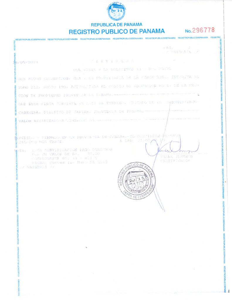 Certificate of Land